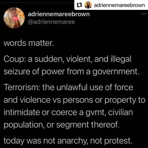 "This tweet from adrienne maree brown reads: ""words matter. Coup: a sudden, violent, and illegal seizure of power from a government. Terrorism: the unlawful use of force and violence vs persons or property to intimidate or coerce a gvmt, civilian population, or segment thereof. today was not anarchy, not protest. (sedition. insurrection. there's lots of precise options.)"""