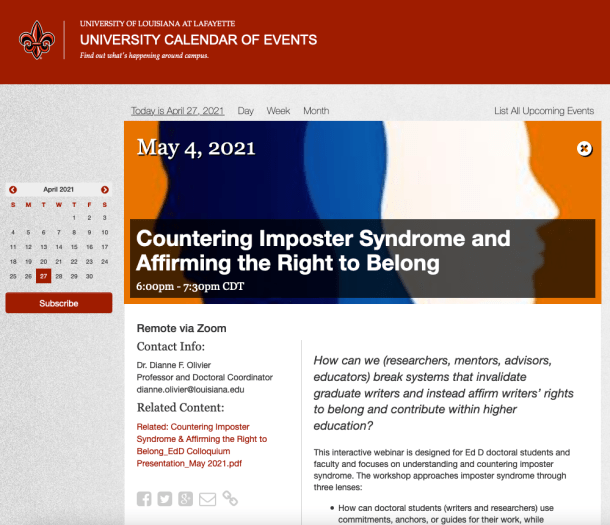 "This screenshot captures the registration page for ""Countering Imposter Syndrome and Affirming the Right to Belong"": an event sponsored by the University of Louisiana at Lafayette. The image shows a calendar; event date, time, contact information; the start of the event description (also shared in this post's text); and an image of blended navy, blue, white, and orange."