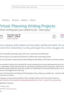 """This screenshot shows the registration page for """"Planning Writing Projects."""" It includes a photo of Beth teaching (body facing and writing on a dry-erase board) and a lot of text, including the workshop title, date, and description shared above; the Fayetteville Public Library's name and logo of a yellow exclamation mark; and tags of the age group: adult and the event type: writing workshop."""