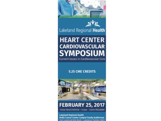 Free Registration for the Lakeland Regional Health Cardiovascular Symposium on February 25, 2017