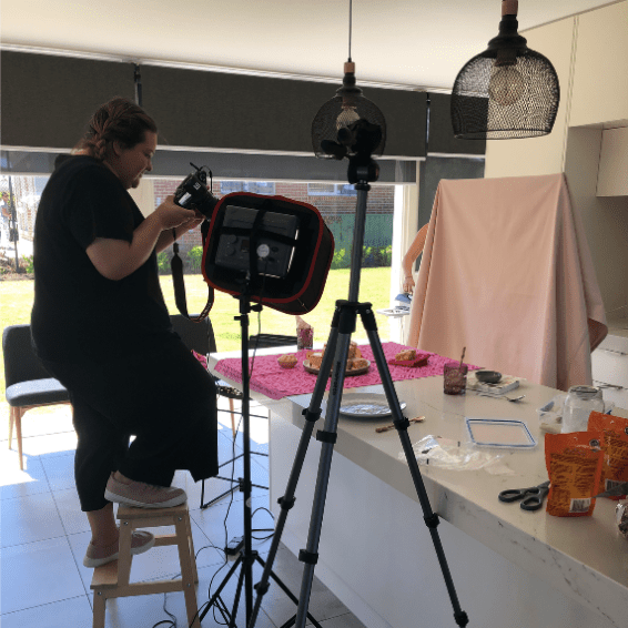 Naomi working her magic for the FruChocs shoot.