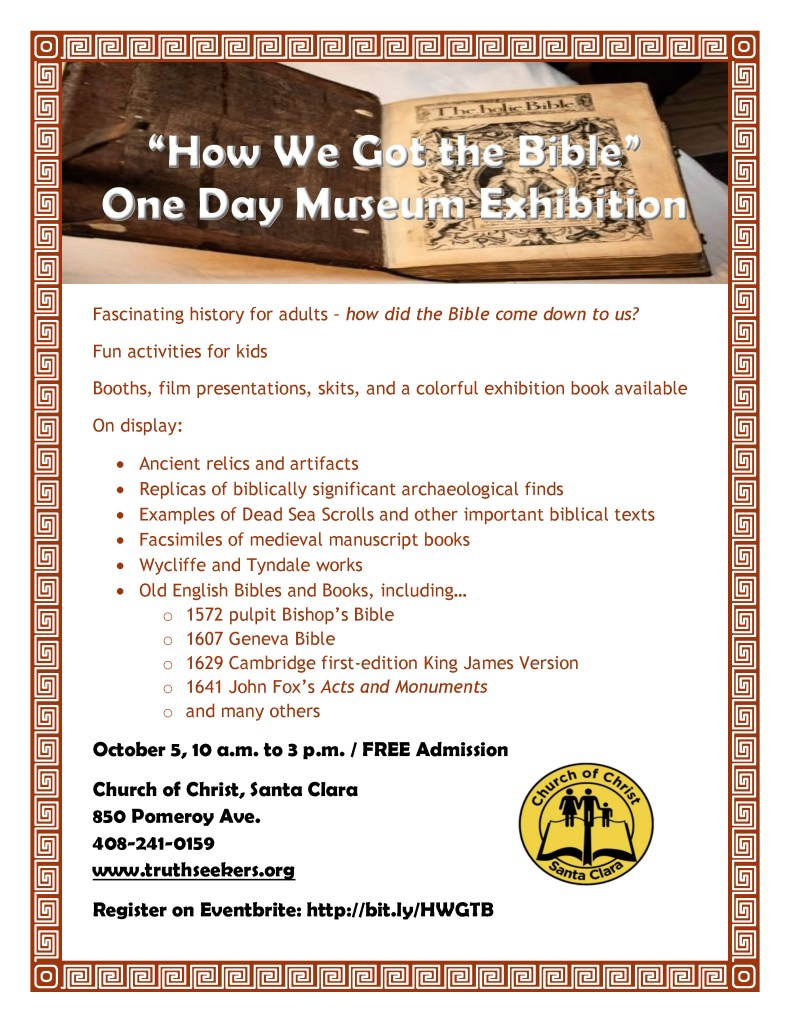 How We Got the Bible Museum Exhibition Flyer.