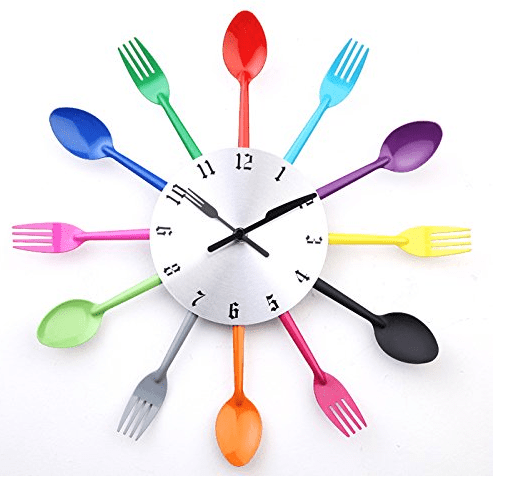 DIY Modern New Design Wall Clock Knife Fork Spoon Clocks Kitchen Knives Home Decoration