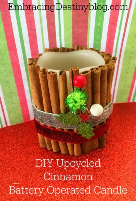DIY upcycled cinnamon candle ~ finished product