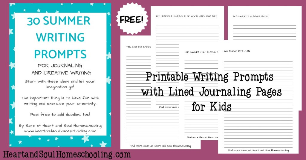 30 pages of free lined journaling pages with writing prompts for kids