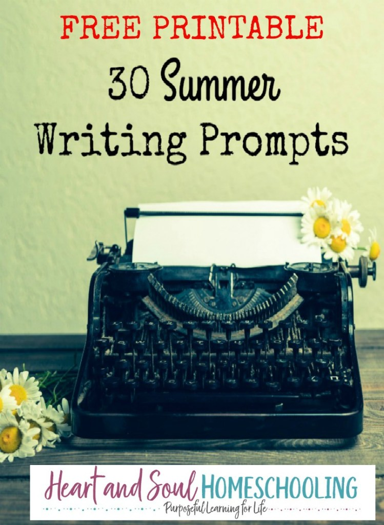 Free summer writing prompts for journaling and creative writing | homeschooling | homeschool | writing prompts for kids | free printable journaling pages with writing prompts