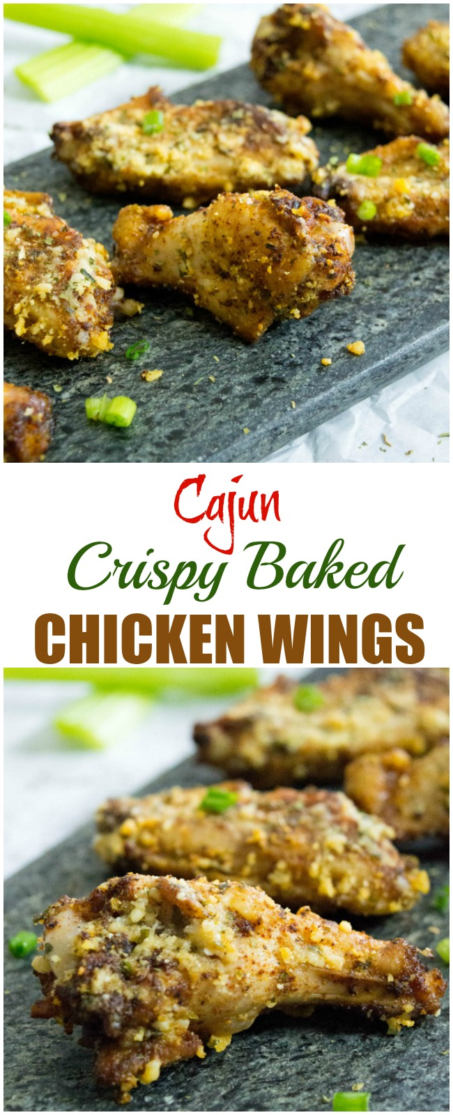 These are some delicious and healthy Cajun Crispy Baked Chicken Wings!  Easy to make wings that everyone will love!