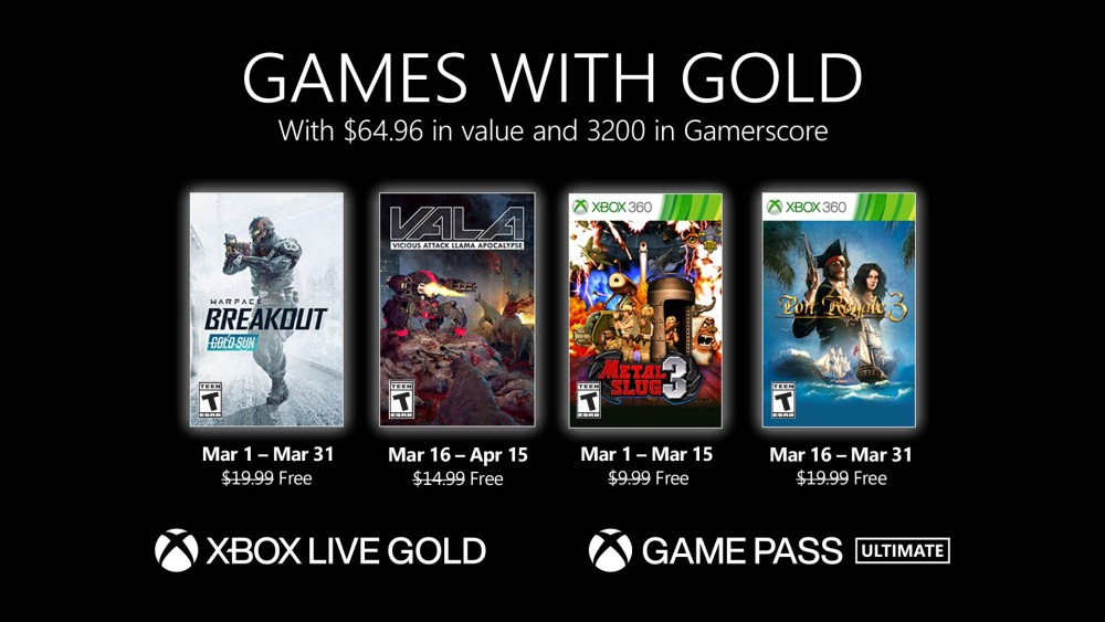 Games with Gold de marzo del 2021