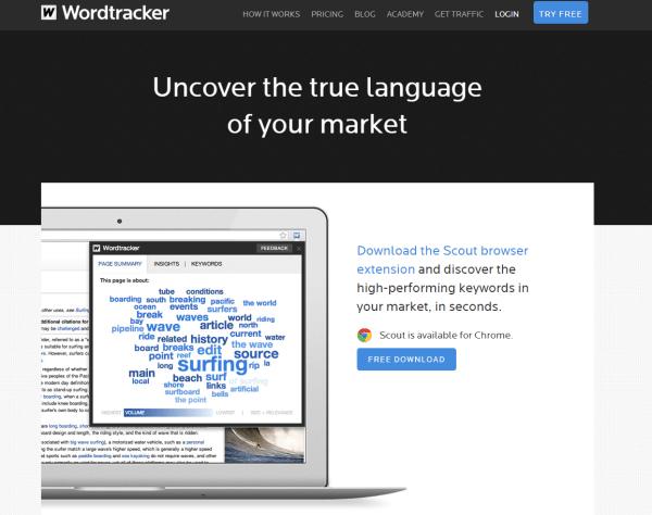 WordTracker Scout helps with the keyword research process