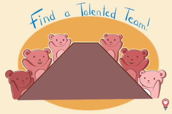 The little cartoon bear is super happy that he found a talented team, so he doesn't have to worry about talent when it comes to challenges with content.