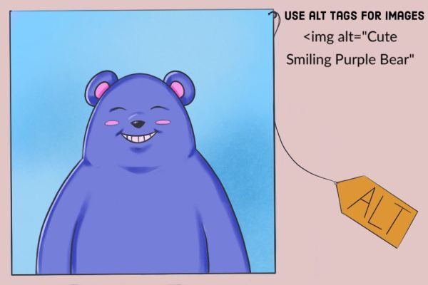 ATL tag play on words with a purple cartoon bear