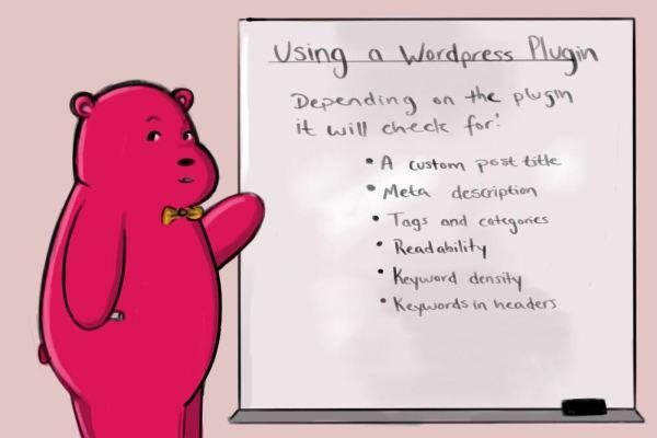 wordpress SEO plugin info and a little red cartoon bear