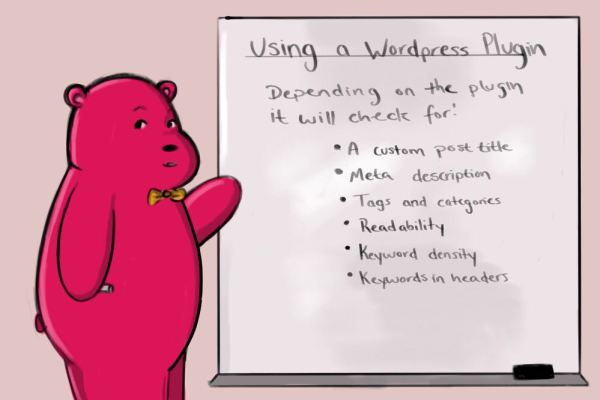 wordpress SEO plugin info and a little red cartoon bear
