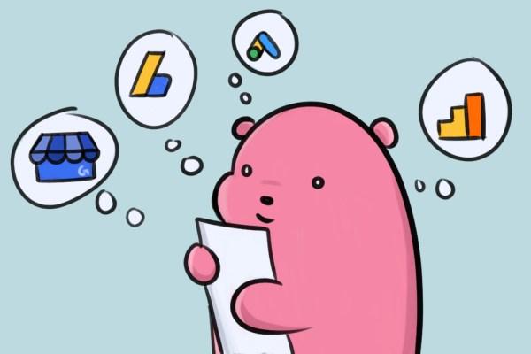 pink cartoon bear reviewing google data studio sources