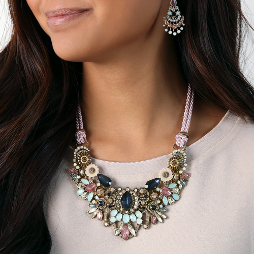 Convertible statement necklace with pink cord