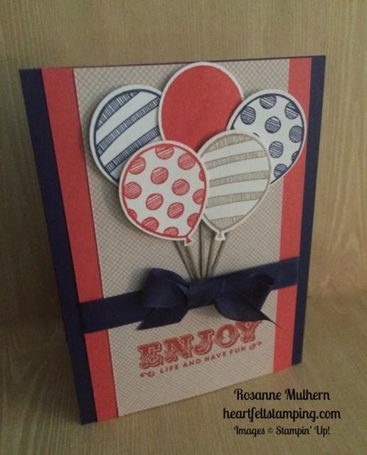 Stampin Up Balloon Adventures Birthday Card - Rosanne Mulhern stampinup
