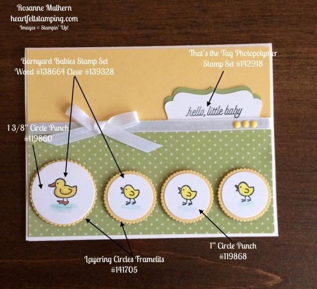 Stampin Up Barnyard Babies baby cards idea - Rosanne Mulhern stampinup