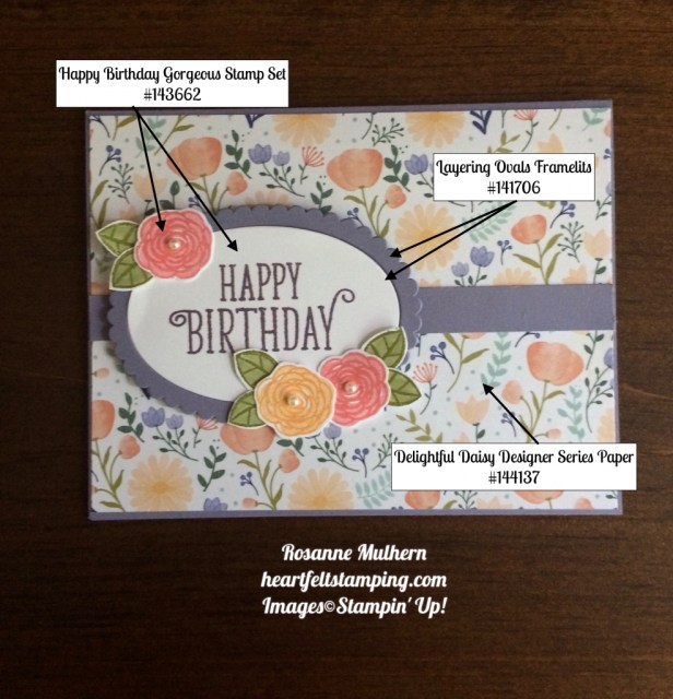 Stampin Up Happy Birthday Gorgeous Birthday Cards Idea - Rosanne Mulhern