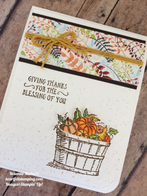Stampin Up Basket of Wishes Painted Autumn Thank you cards ideas - Rosanne Mulhern