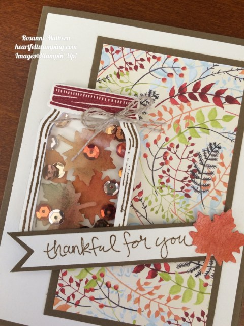 Stampin Up Jar of Love Thank you Thanksgiving Card - Rosanne Mulhern