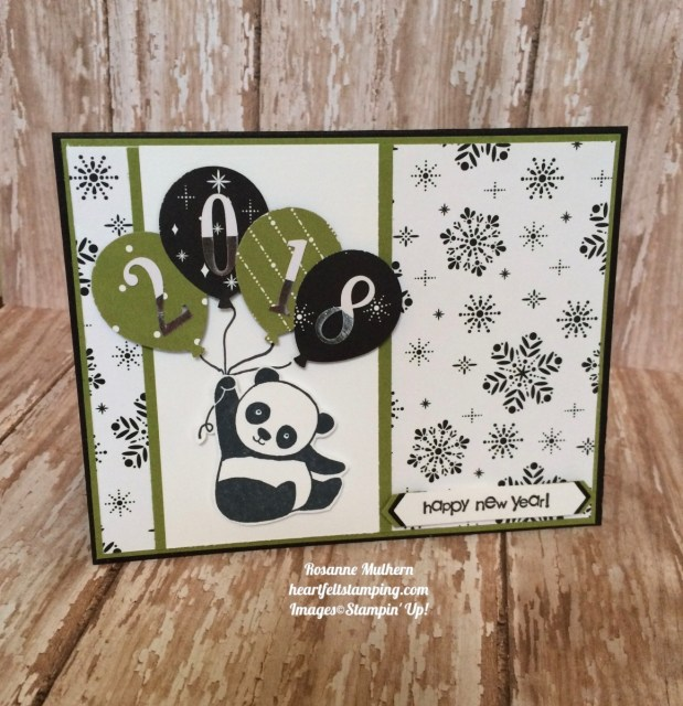 Stampin Up Party Pandas New Year's Card - Rosanne Mulhern