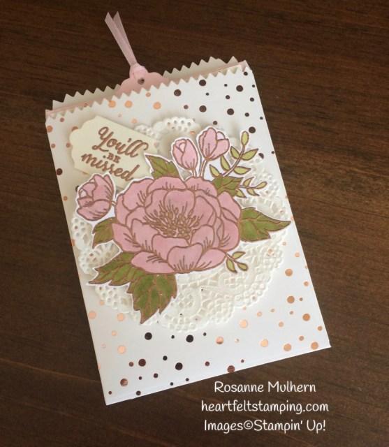 Stampin Up Birthday Blooms Mini Treat Bag Gift Card Holder - Rosanne Mulhern Heartfelt Stamping