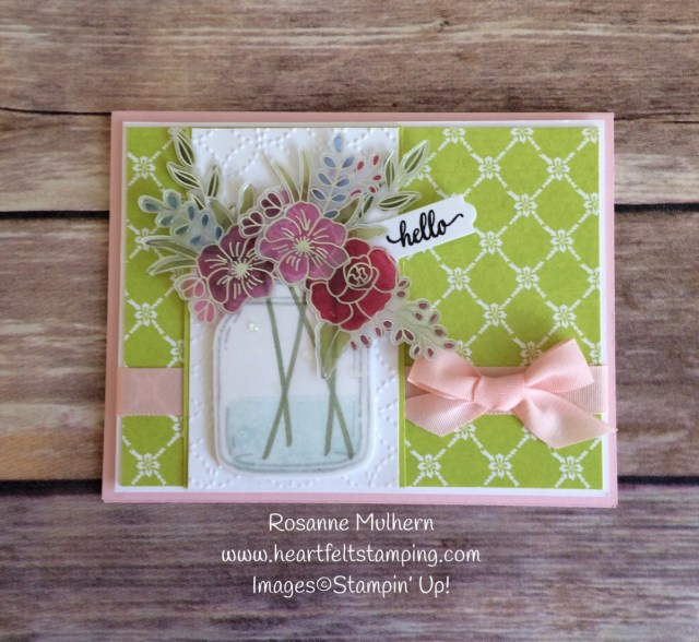 Stampin Up Sweet Soiree Jar of Flowers Card- Rosanne Mulhern