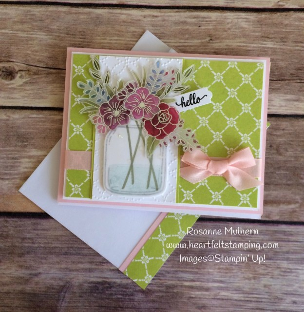 Stampin Up Sweet Soiree Jar of Flowers - Rosanne Mulhern