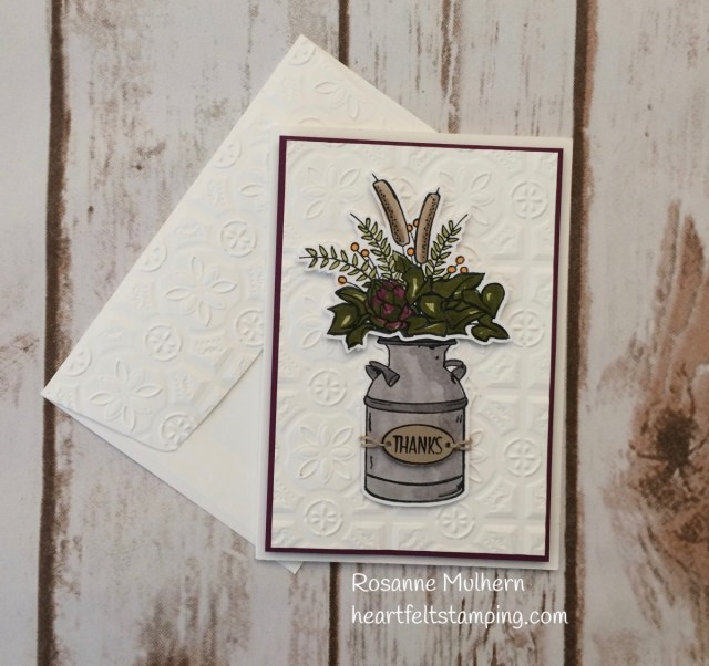 Stampin Up Country Home Thank You Card -Rosanne Mulhern Heartfelt Stamping