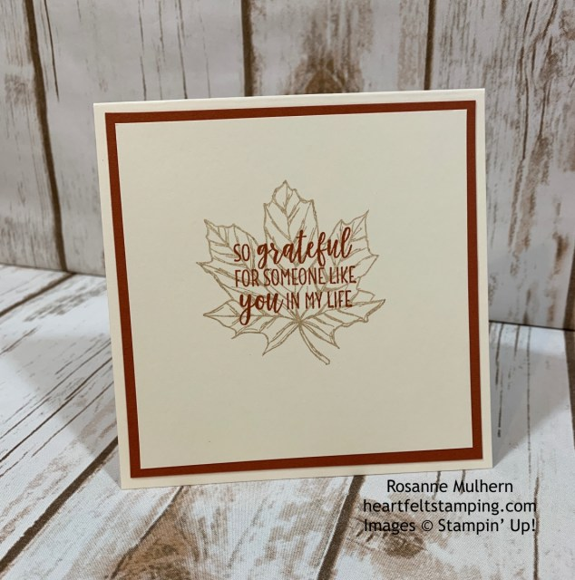 Stampin Up Gather Together Thanksgiving Card Idea- Rosanne Mulhern stampinup