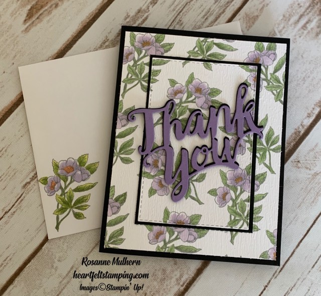 Stampin Up Botanical Prints Thank You Card Idea -Rosanne Mulhern stampinup