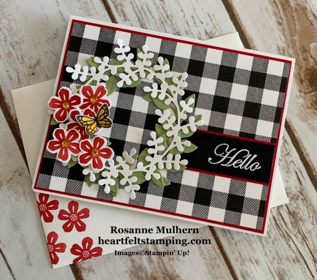 Stampin Up Arrange a Wreath Hello Card Idea -Rosanne Mulhern stampinup
