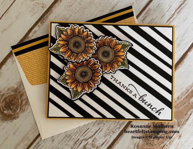 Stampin Up Celebrate Sunflowers Thank You Card Idea-Rosanne Mulhern stampinup