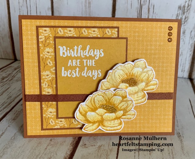 Stampin Up Tasteful Touches Birthday Card Idea- Rosanne Mulhern stampinup
