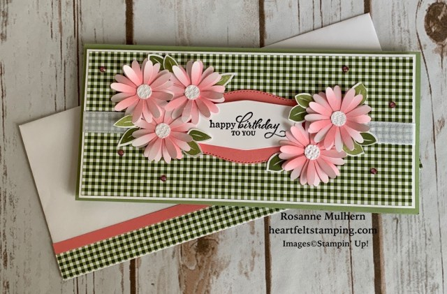 Stampin Up Slimline Daisy Birthday Cards - Rosanne Mulhern stampinup