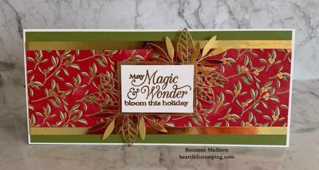 Stampin Up Christmas Slimline Card Idea -Rosanne Mulhern stampinup