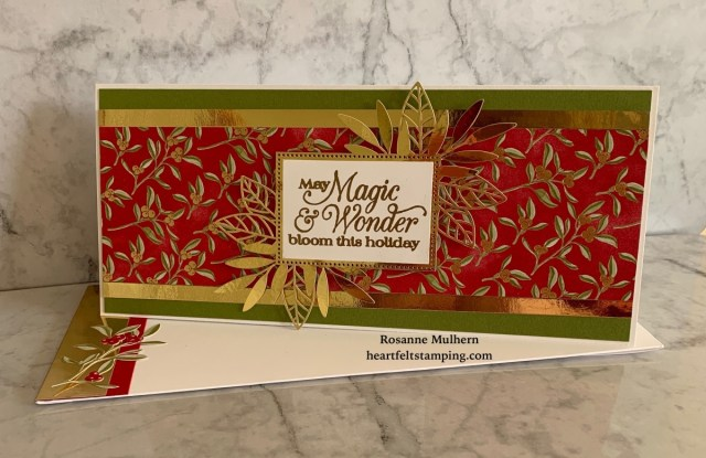 Stampin Up Christmas Slimline Card Idea - Rosanne Mulhern stampinup