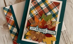 Stampin Up Gathered Leaves Plaid Tidings Fall Card Idea - Rosanne Mulhern stampinup