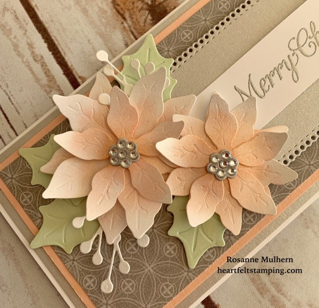 Stampin Up Poinsettia Petals Christmas Card Idea- Rosanne Mulhern