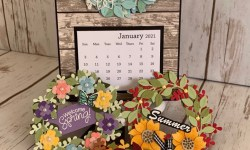 Seasonal Wreaths Calendar Card -Rosanne Mulhern stampinup
