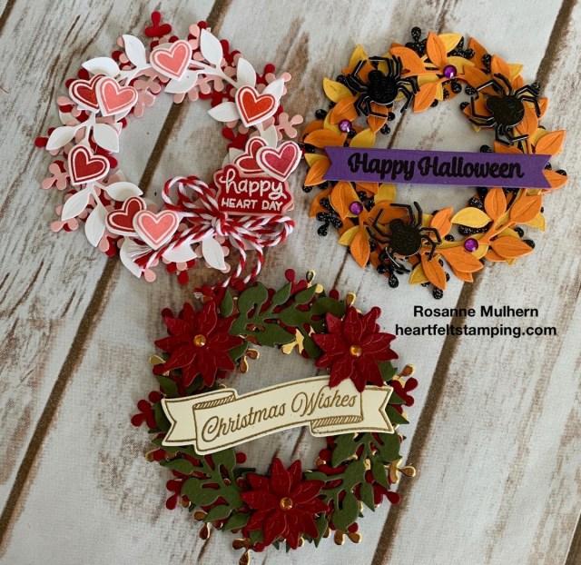 Seasonal Wreaths Calendar Card- Rosanne Mulhern stampinup
