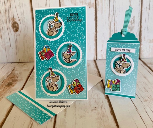Stampin Up Kangaroo and Company Slimline Birthday Cards - Rosanne Mulhern stampinup
