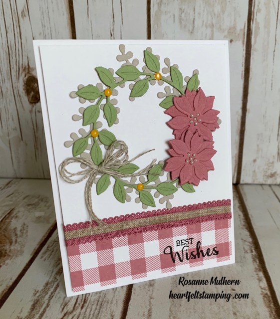 Stampin Up Buffalo Checked Wreath Card Idea-Rosanne Mulhern stampin up