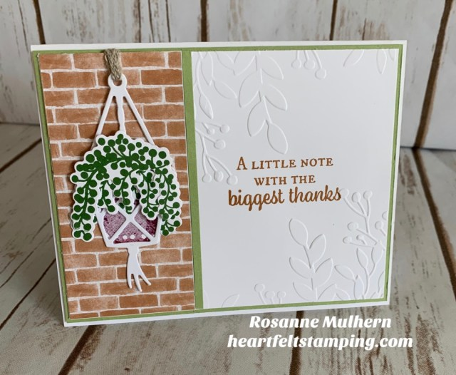 Stampin Up Plentiful Plants Hanging Basket Thank You Card Idea -Rosanne Mulhern stampinup