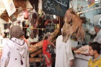 A head of a camel in the souk (markets).