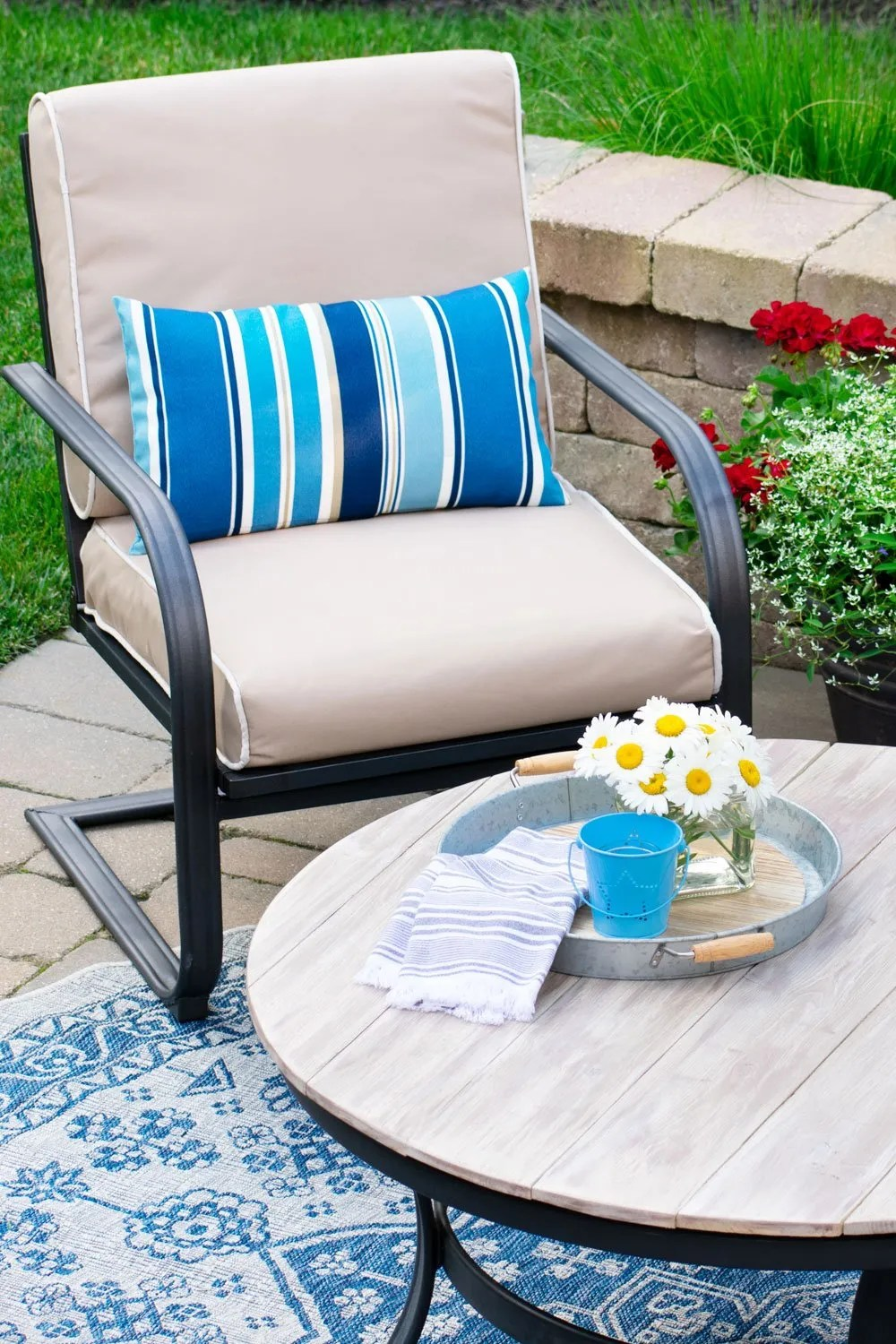 how to recover your outdoor cushions for your deck or patio furniture heart filled spaces
