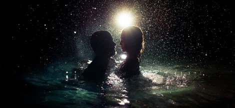 Two people swimming at night, used on blog about how to win at dating