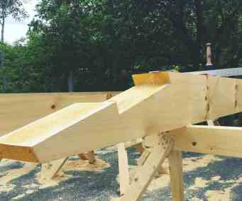 one half of a stop-splayed scarf joint in 8x12 pine timber