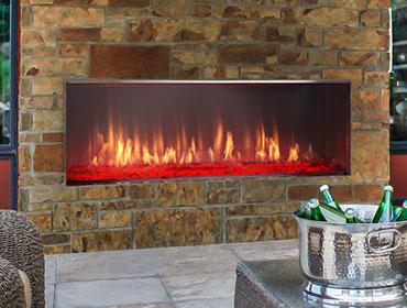 Lanai outdoor gas fireplace with brick face
