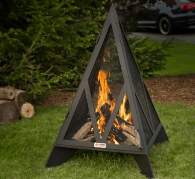 Black Pyramid Style Backyard Fire Pit on Grass